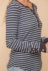 stardust Stripe Cotton Rib Trim Buttoned Henley Top