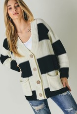 stardust Striped Oversized Button Down Cardigan