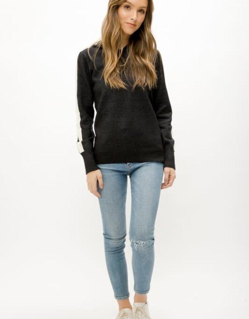 stardust Embellished Sweater Hoodie W/Side Stripe