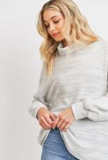 stardust Turtleneck Brushed Marbled Knit Top