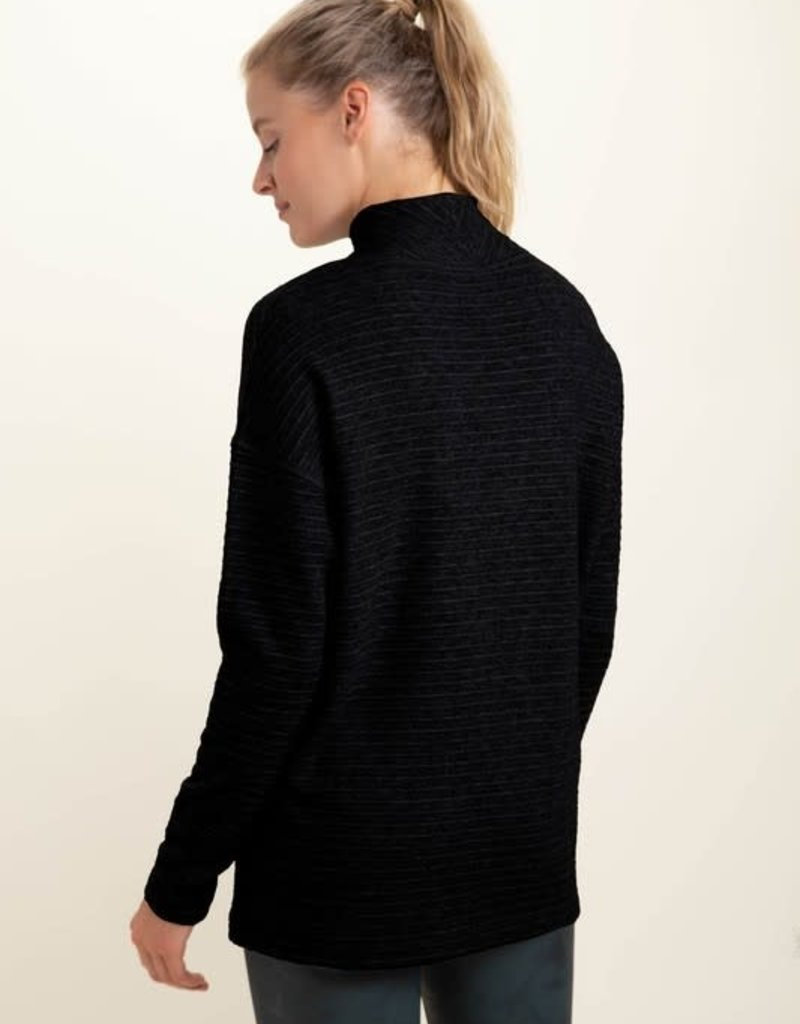 stardust Mock Neck Striped Ribbed Long-Sleeve Top