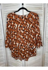 Ces Femme Rust Patterned 3/4 Ruffle Sleeve Tunic