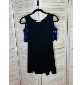 Chris& Carol Cold Shoulder Tunic with Blue Sequin Sleeves
