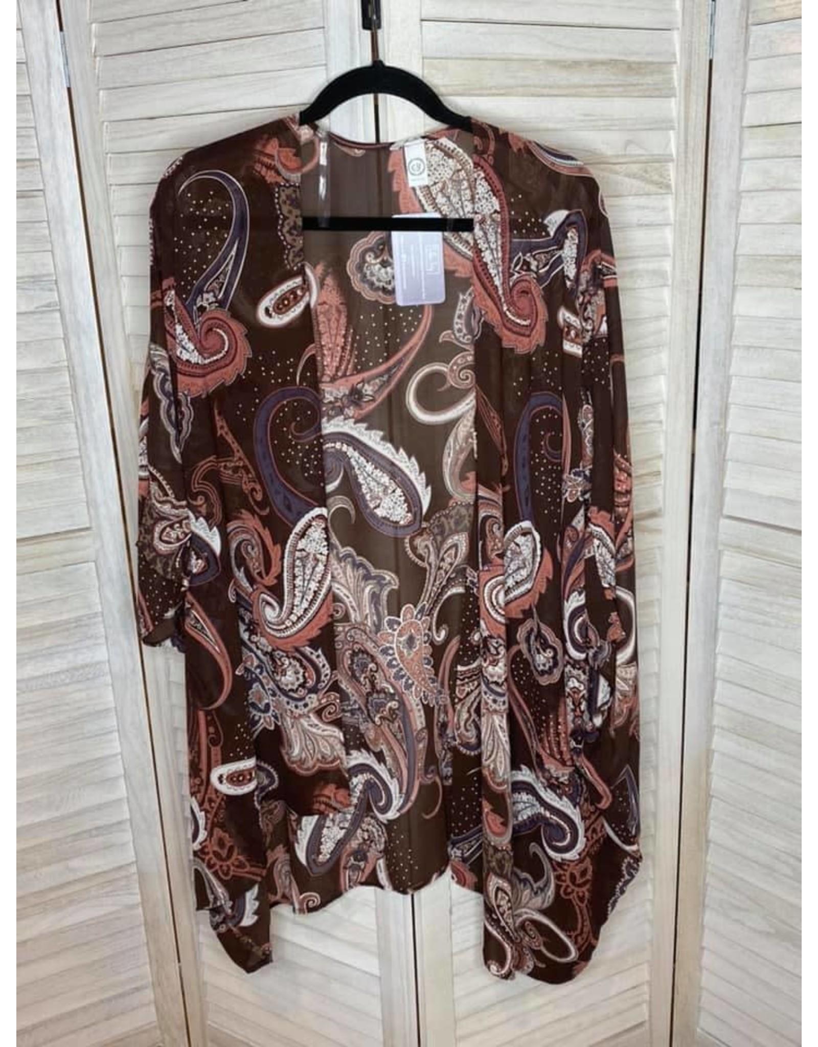 CY Fashion Oversized Rosy Brown Floral Kimono - Plus