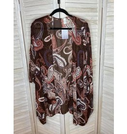 CY Fashion Oversized Rosy Brown Floral Kimono - Plus