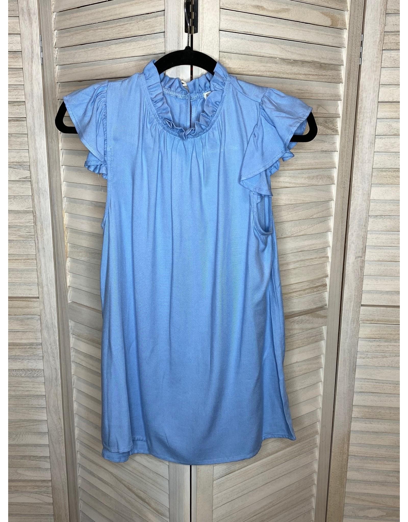 FSL Apparel Light Blue Ruffle Neck and Sleeve Top