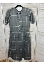 Flamingo Gray and White Window Pane Pattern Dress with Pockets