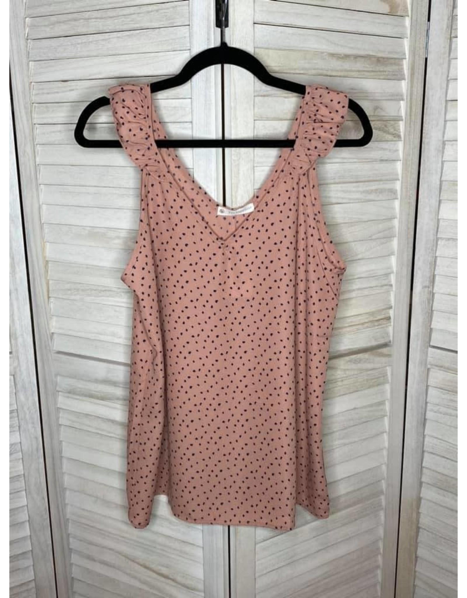 FSL Apparel FSL Dusty pink polka dot sleeveless top w/ruffle