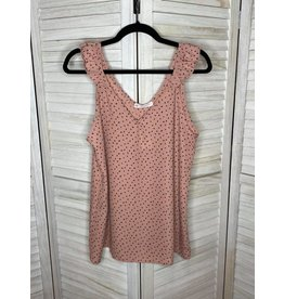 FSL Apparel FSL Dusty pink polka dot sleeveless top w/ruffle
