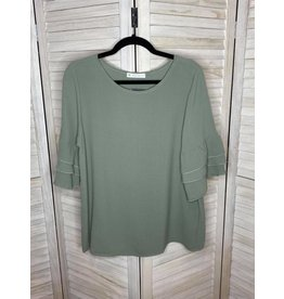 FSL Apparel FSL sage tunic w 3/4 ruffle sleeve