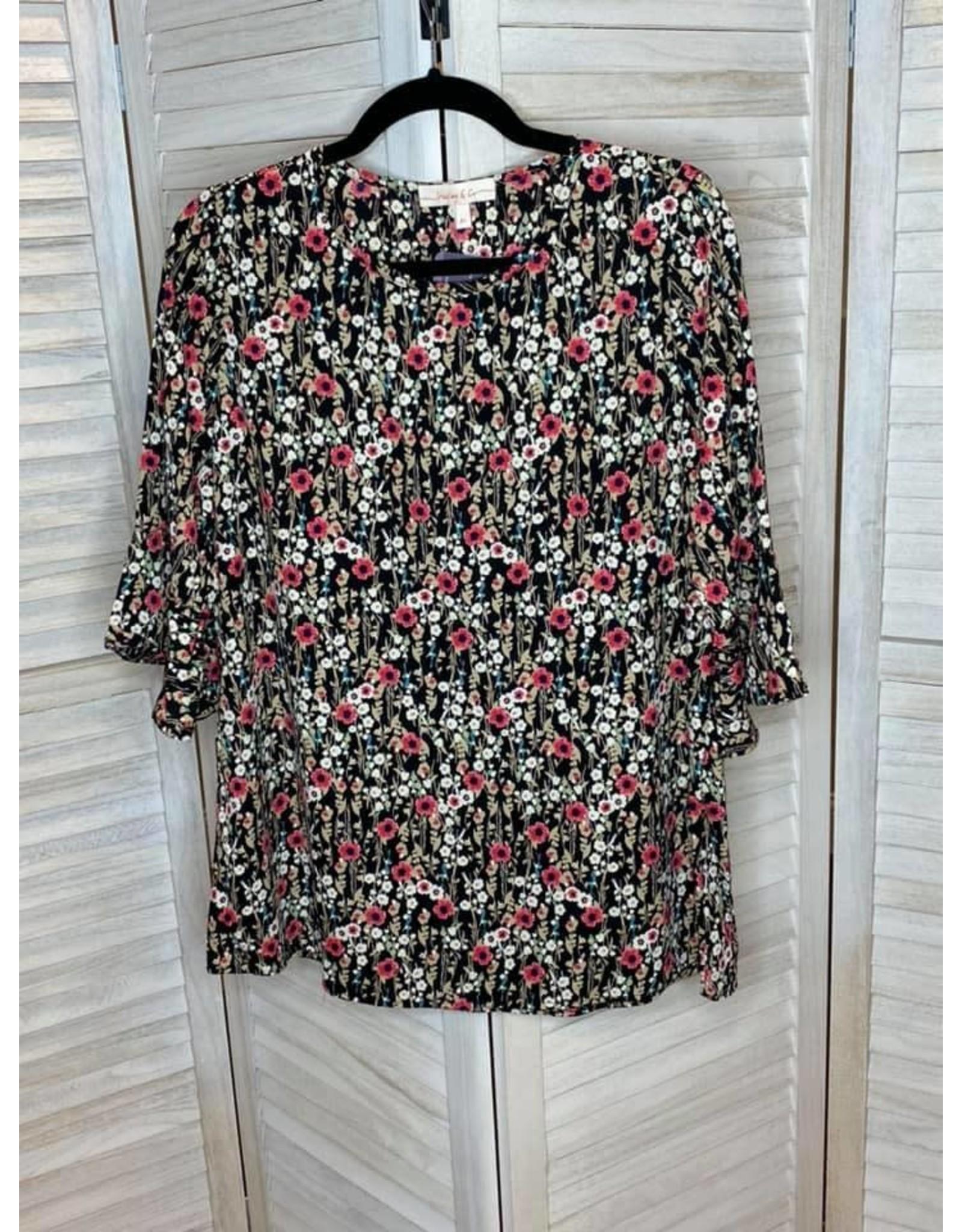 Hailey & Co Poppy Floral Print 3/4 Ruffle Sleeve Top