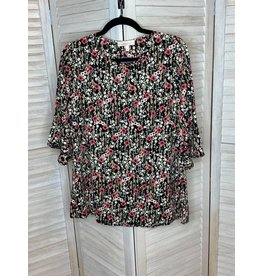 Hailey & Co Poppy Floral Print 3/4 Ruffle Sleeve Top