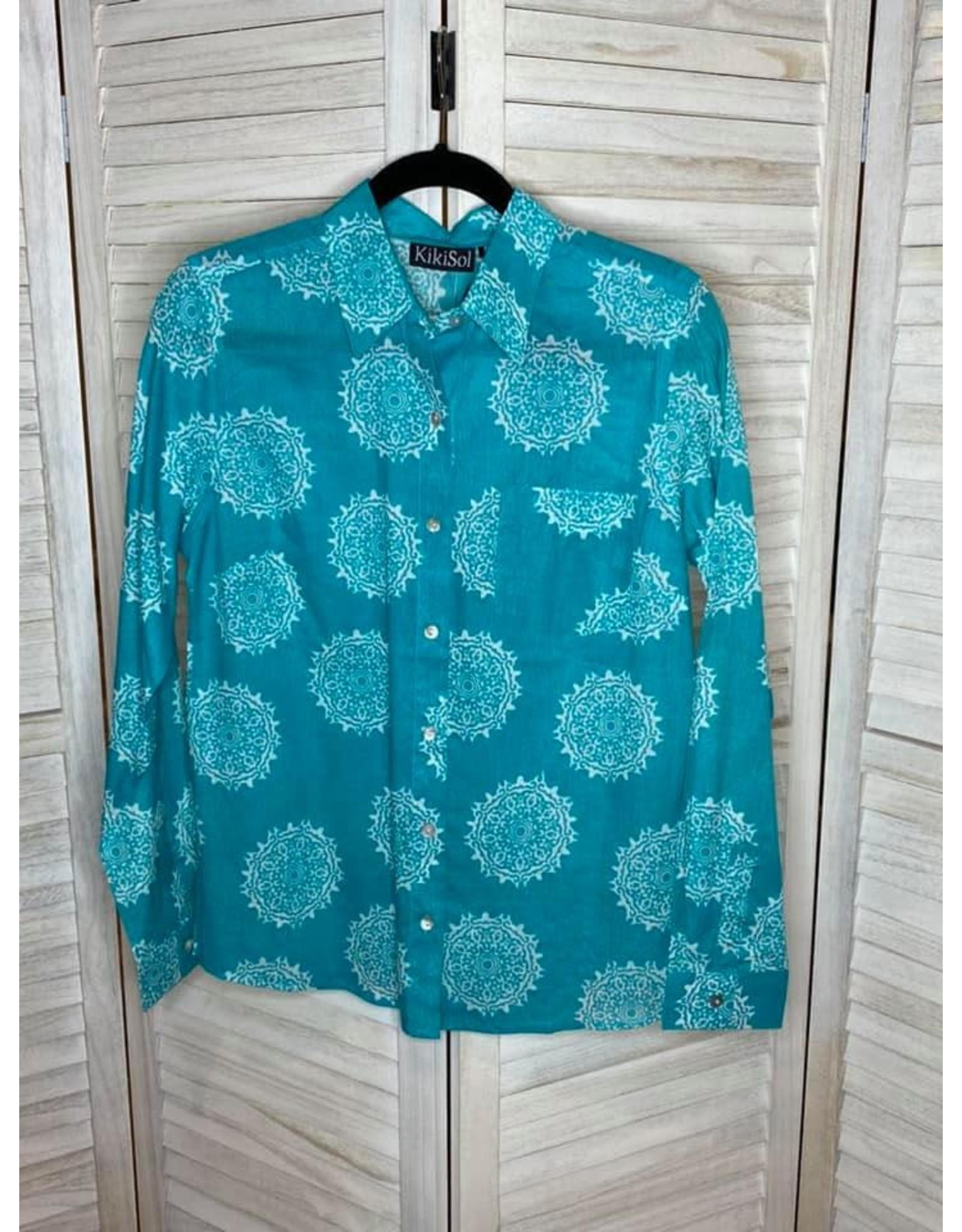 KikiSol Aqua Moroccan Button Down Shirt