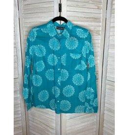 KikiSol Aqua Moroccan Button Down Shirt