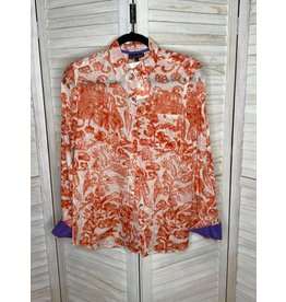 KikiSol Coral Pattern Button Down with Purple Accent