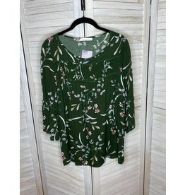 Lake Flower Dark Olive Floral Bell Sleeve Tunic