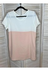 Lake Flower Pink and White Color Block Tunic with Pockets