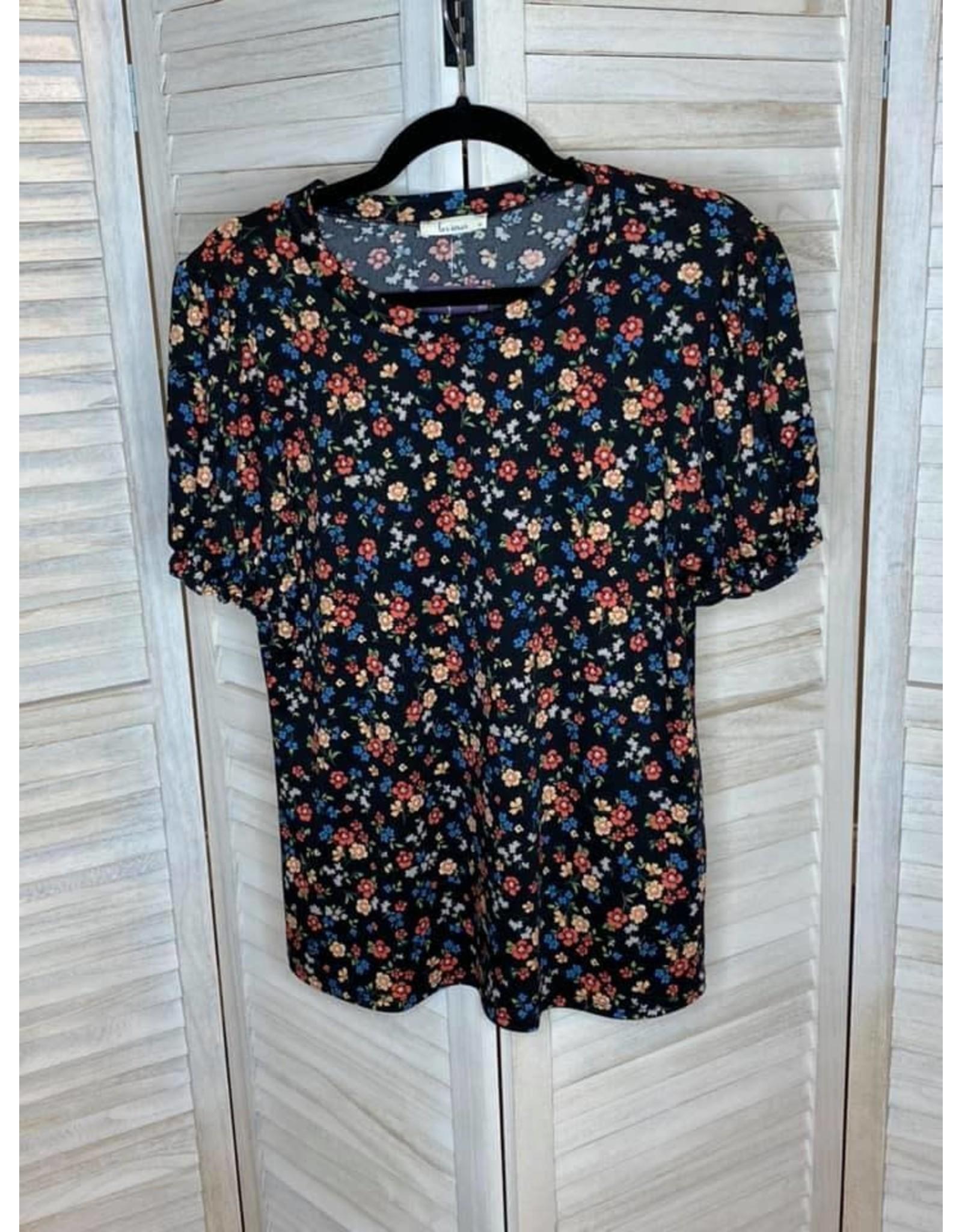 Les Amis Black Floral Short Puff Sleeve Top