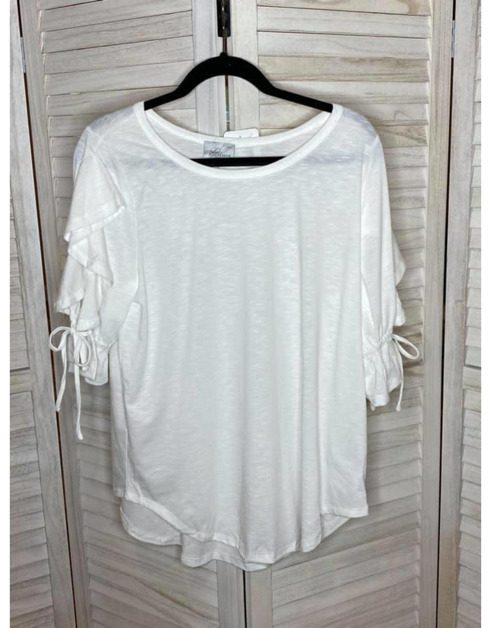 Gigio Off White Burn Out Material Open Ruffle Top
