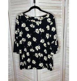 Les Amis Black Floral 3/4 Ruffle Sleeve Top