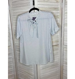 Les Amis Black and White Polka Dot Tie Neck Top with Pleated Sleeves