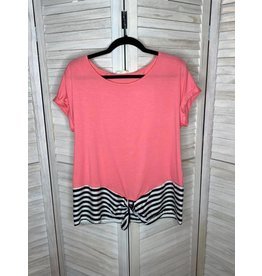 Les Amis Strawberry Short Sleeve Top with Black and White Tie Bottom