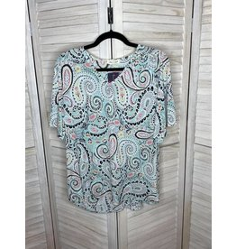 Lime n Chili Multi Color V-Neck Paisley Ruffle Sleeve Top