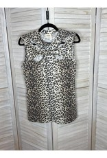 Macaron Leopard Thermal Knit Mock Neck Detail Sleeveless Top