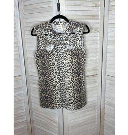 Macaron Leopard Thermal Knit Mock Neck Detail Sleeveless Top