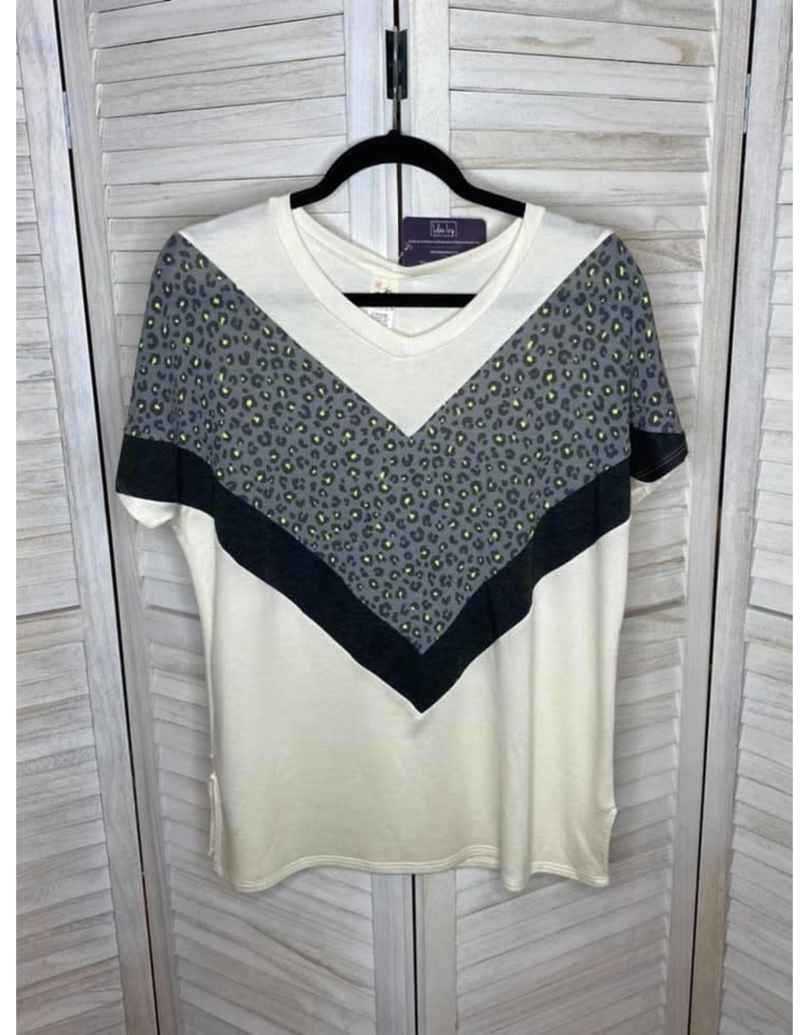 Nadia Off White Lime and Black Animal Print Chevron Tunic