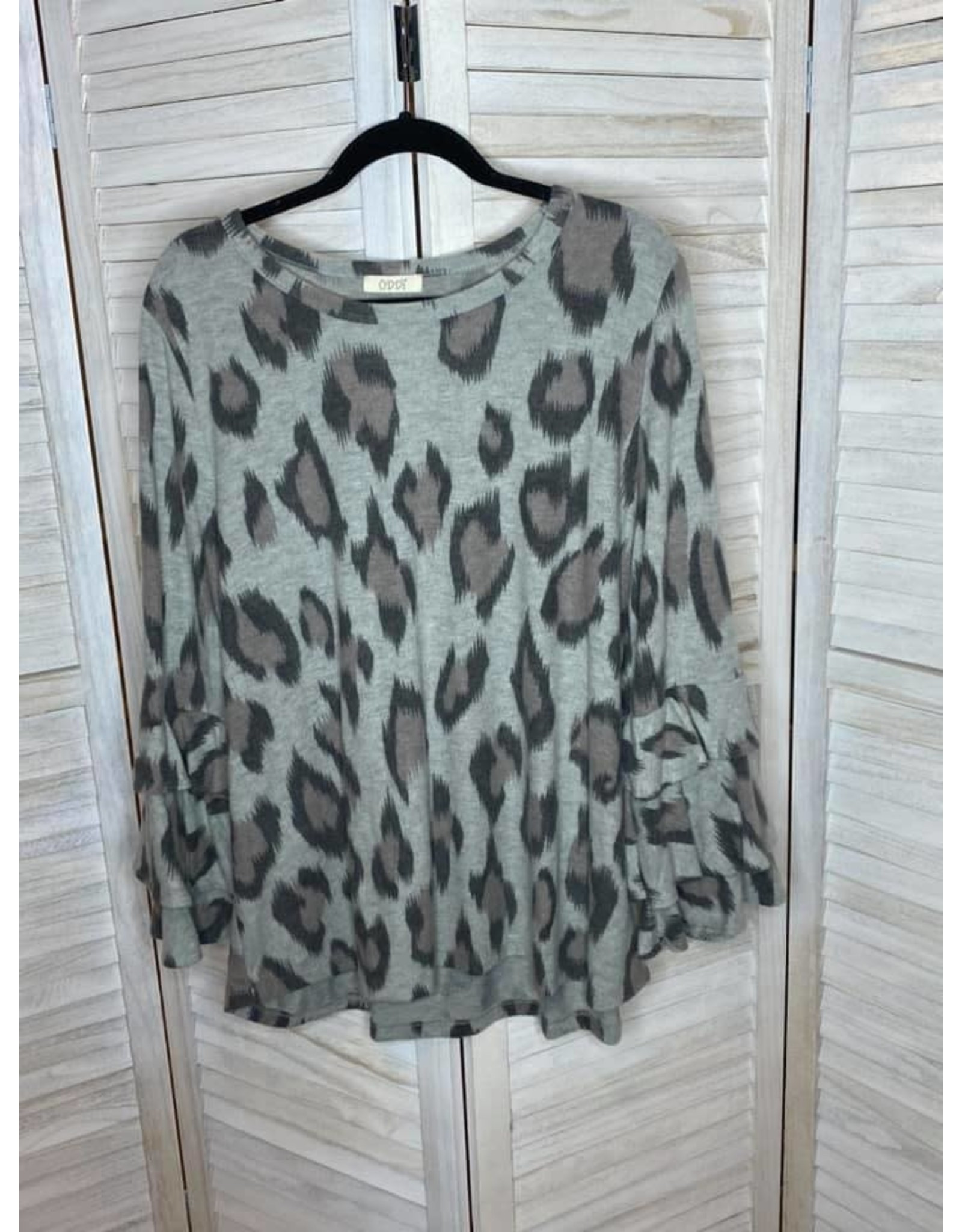 Oddi Gray Animal Print Tiered Ruffle Sleeve Tunic - Plus