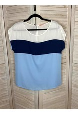 PS Kate Navy Light Blue and White Color Block Top