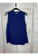 PS Kate Navy Scallop Neck Sleeveless Top