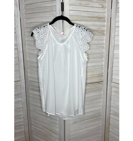 PS Kate White Sleeveless Top with Crochet Sleeves