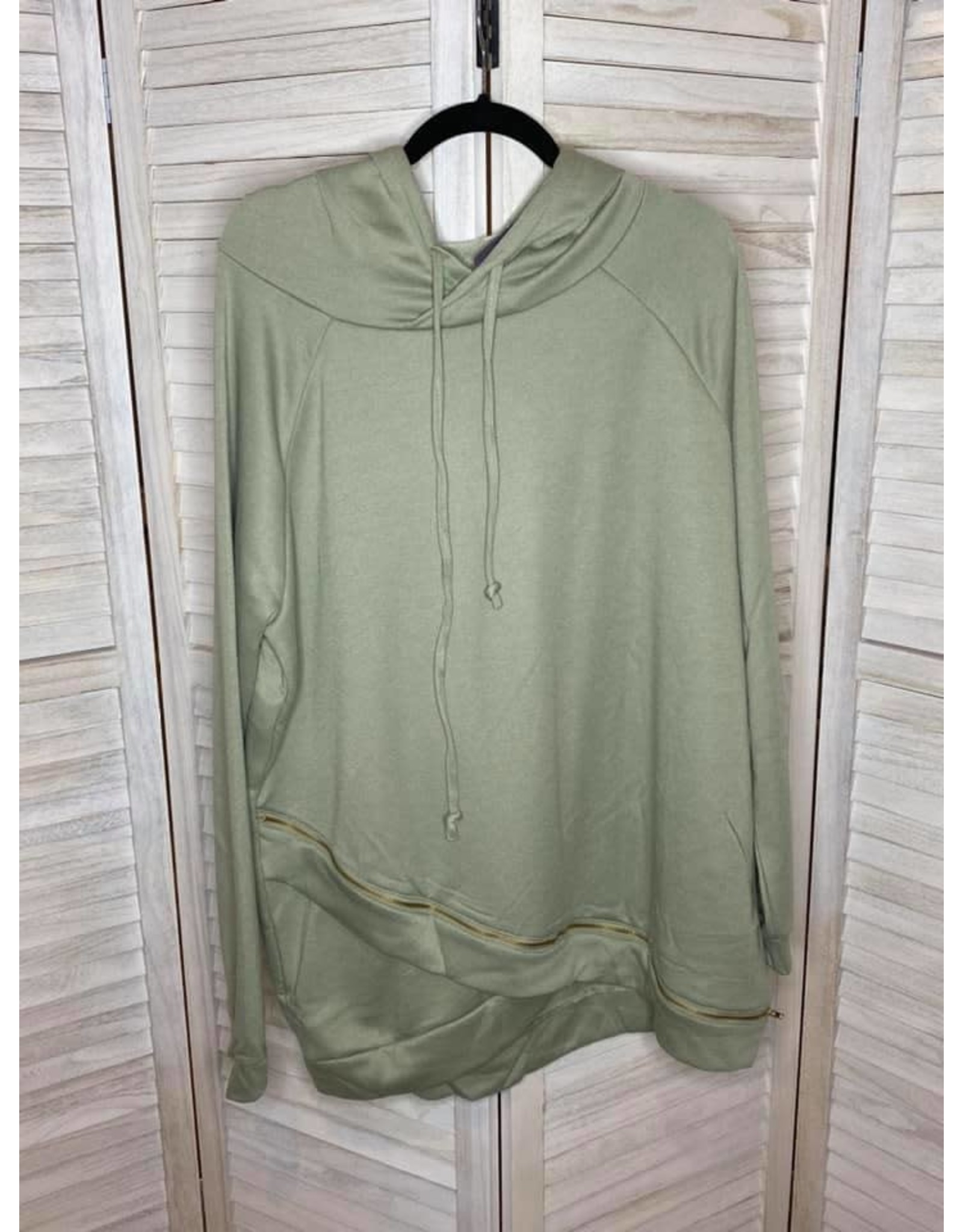 Trending Times Sage Hoodie with Zipper Detail - Reg and Plus