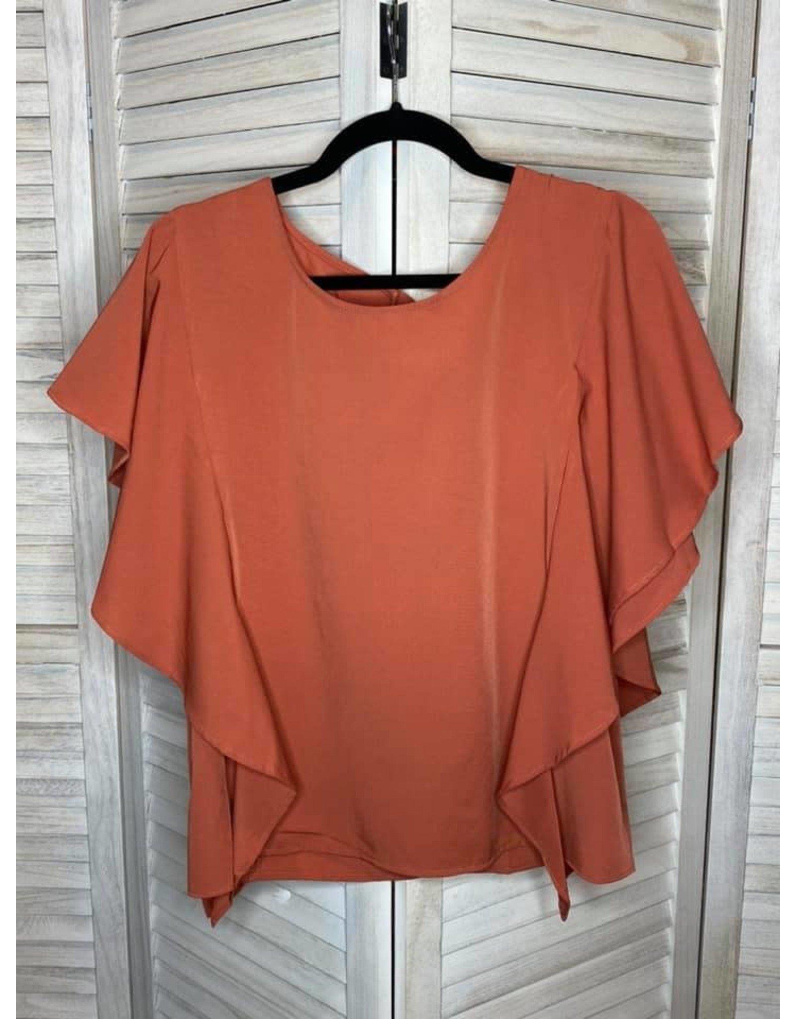 Umgee Burnt Orange Ruffle Detail and Tie Back Top