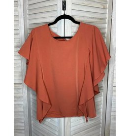 Umgee Burnt Orange Ruffle Detail and Tie Back Top