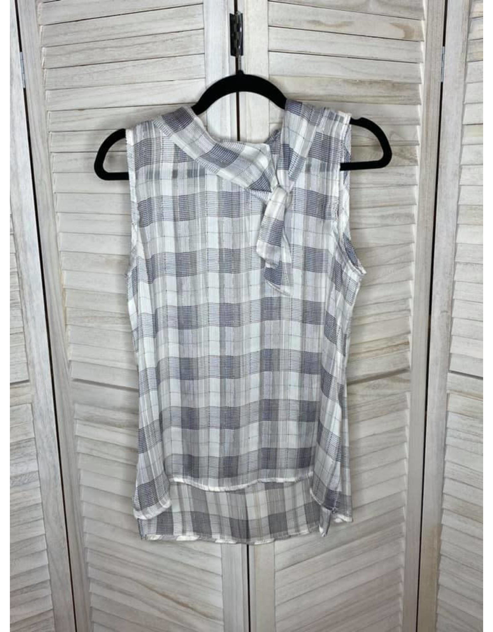 Westmoon Plaid Sleeveless Top with Gold Detail and Tie Cowlneck
