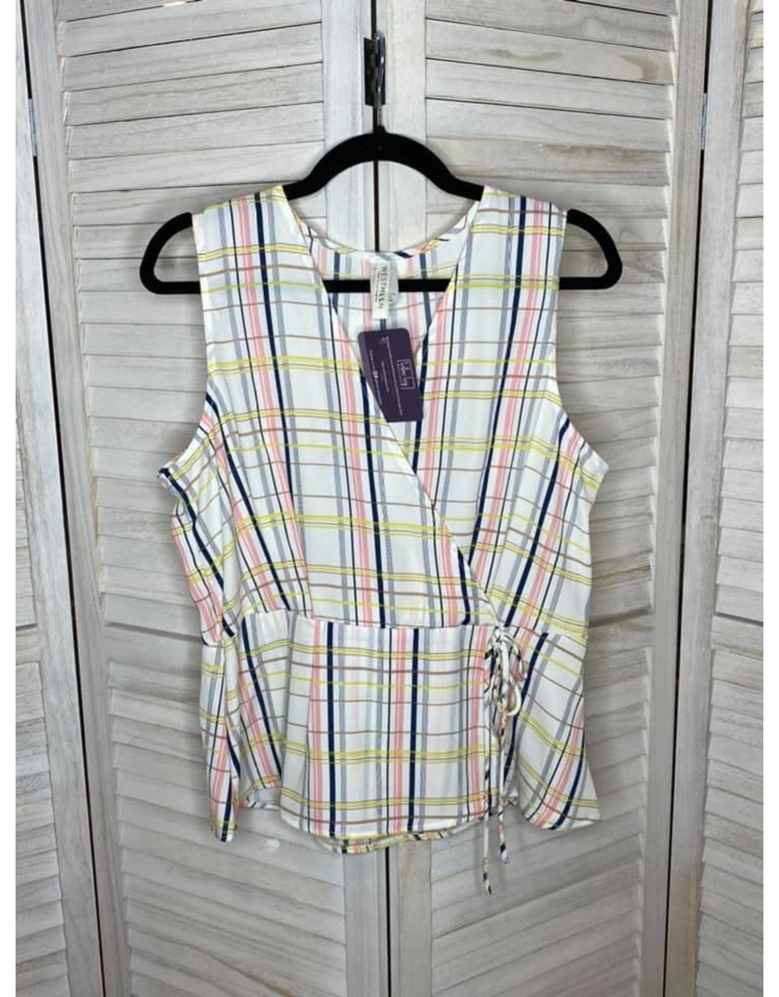 Westmoon Plaid Sleeveless Peplum Top with Tie