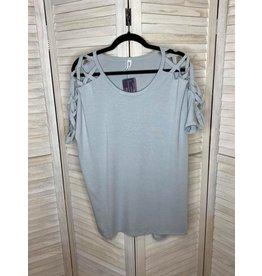 Zenana Light Gray Open Shoulder Tunic