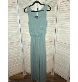 Zenana Light Green Sleeveless Maxi Dress with Tie Waist