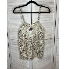 Umgee Animal Print Lace and Eyelet Strappy Top
