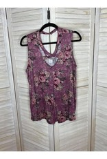 Oso Pink Floral Sleeveless Top with Neck Detail - Plus