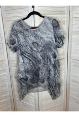 Lor Luxe Gray Animal Print Feather Tunic with Sharkbite Hem and Lace Back