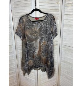 Brown Animal Print Tunic with Sharkbite Hem and Burnout Back