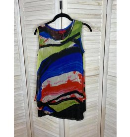 Lor Luxe Multi Color Sleeveless Tunic with Black Lace Lining