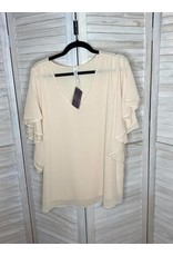 Zenana Creme Flutter Sleeve V-Neck Top - Plus