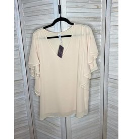 Zenana Creme Flutter Sleeve V-Neck Top - Plus
