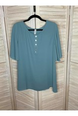 Zenana Light Teal Faux Button Front Flutter Sleeve Top - Plus