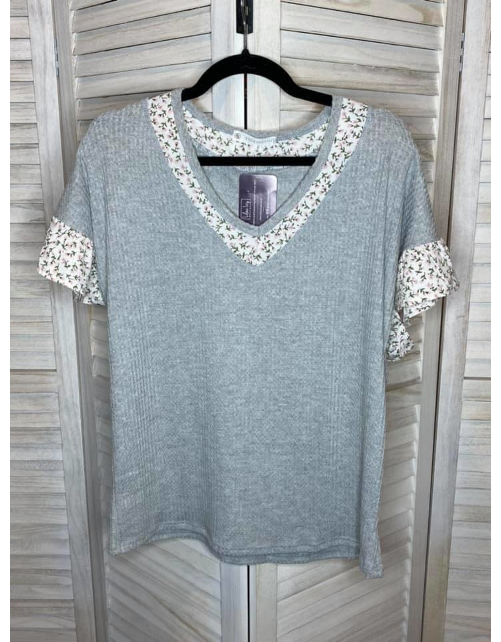 FSL Apparel Gray Waffle Knit Tunic with Floral V-Neck and Ruffle Sleeve